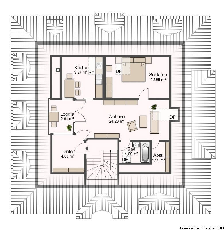 Wohnungsgrundriss im Dachgeschoss