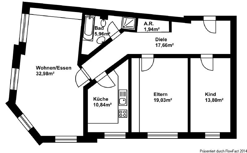 Wohnungsgrundriss Wohnung 1